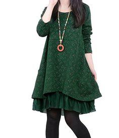 34cc6b61bab Minetom Damen Kleid Mädchen Kleid Langärmelige Baumwolle Kleid Geblümt  Kleid Rundkragen Kleid Angenehm (Marineblau XL)  Amazon.de  Bekleidung