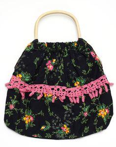 retro woogen handle handbag