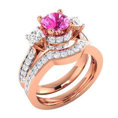 1.60Ct Pink W/ White Sapphire Solid 10k Rose Gold Womens Wedding Ring Bridal Set #Boxofcaratsinternational #Band #Wedding