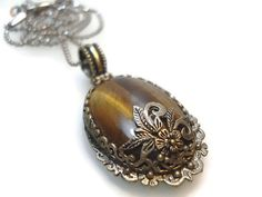 Brown  Necklace-Brown Natural Stone Pendant Necklace-Silver Plated Filigree-Christmas Gift