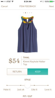 MLS: I like the pop of color at the neckline, and think halter is a good style for me. I'm not sure about the material of the tank itself - I'm not big on the crepe-y look, and it seems like it could be like that? THML Kimmie Keyhole Top