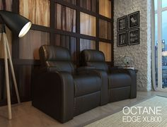 The Octane Edge in Brown Leather has a versatile design that will work with a large varity of home decor styles and will add comfort and sophistication to any home theater. On sale and in stock now.