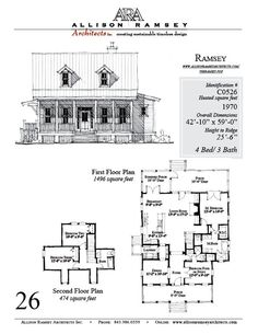 The Ramsey plan by Allison Ramsey Architects is 1970 Heated Square Feet, 4 Bedrooms and 3 Bathrooms. Carolina Inspirations, Book III, Page 2...