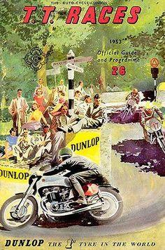 1953 Isle of Man TT Motorcycle Race - Promotional Advertising Poster Bike Poster, Motorcycle Posters, Motorcycle Art, Bike Art, Motorcycle Garage, Classic Motorcycle, Logos Vintage, Vintage Posters, Vintage Prints