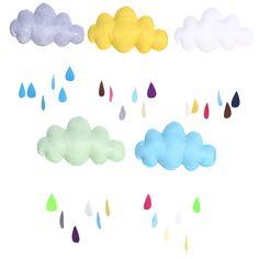 3.25$  Watch here - Cartoon Wall Stickers Fabric+Silk Wadding Cloud Raindrop Removable Kids Baby Room Nursery Wall Decal Stickers Decoration   #magazineonlinebeautiful