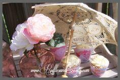 Princess Swan  ~ lovely parasols & cupcake wrappers #parasol #favors #weddingdecorations #partydecorations #birthdaydecorations #birthday