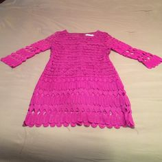 Pinkish Purple crochet dress NWT. I believe it is Asian sizing. Is an XL but fits like a medium. Super cute! Has a hidden zipper down the back. Arms are see through Dresses