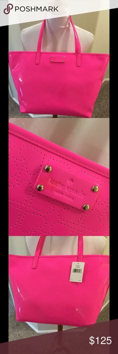 NWT Kate Spade Harmony pinksphre Tote Cute pink zip top Tote KS 11.5 x 10 x 6 Slight discoloration on plate front shown pic #2 Spade perforated design kate spade Bags Totes
