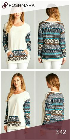 ** COMING SOON** Aztec Sweater Top Long sleeve Aztec tribal and solid mix sweater top with front pockets.   Fabric: 96% Polyester 4% Spandex Sweaters