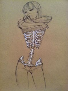 so thin you could see her ribs.