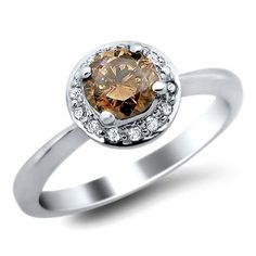 .70ct Fancy Brown Round Diamond Engagement Ring 14k White Gold Get Rabate