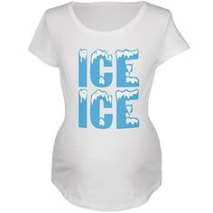 Ice Ice Baby White Maternity Soft TShirt  Medium *** Click on the image for additional details. (This is an affiliate link and I receive a commission for the sales)