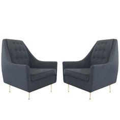 Pair of Italian Lounge Chairs on Brass Legs