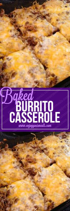 Baked Burrito Casserole INGREDIENTS: 1 can refried beans 1 pack large flour tortillas 2 cups of shredded Mexican blend cheese . Meat Recipes, Mexican Food Recipes, Cooking Recipes, Best Hamburger Casserole Recipes, Corn Tortilla Recipes, Vegetarian Recipes, Chicken Recipes, Tostada Recipes, Vegetarian Mexican