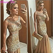 High Quality Evening Dress Scoop Spaghetti Strap Dazzling Beading Hot Sale Sexy Mermaid Long Prom Dress 2015(China (Mainland))