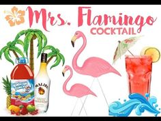 MRS.  FLAMINGO COCKTAIL #pinkcocktail #flamingococktail #hawaiianpunch #malibu