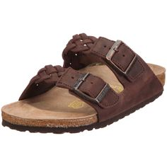 Birkenstock slippers Arizona in size 44.0 W EU made of Waxy Leather in Habana Gross-Braid with a regular insole