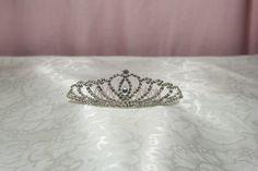 Princess Mini Tiara Comb with Rhinestone Heart Center