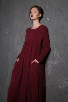 Red Linen Dress Long Burgundy Loose-Fitting by YL1dress on Etsy