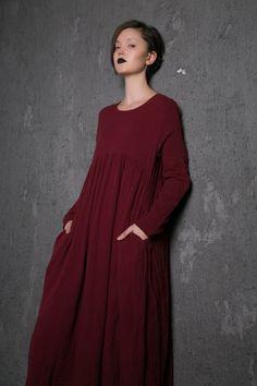 2015 New Red Long Dress maxi linen dress C496