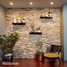 Create a Faux Stone Accent Wall - Cover a wall with stone veneer and transform a room! You can transform any room with a stunning stone accent wall like this. Faux Stone Walls, Stone Accent Walls, Faux Brick, Kitchen Accent Walls, Kitchen Stone Wall, Faux Stone Wall Panels, Faux Stone Sheets, Wooden Accent Wall, Tile Accent Wall
