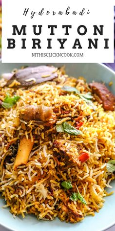 This flavour-packed Mutton Biryani recipe with delectable spices is easy to prepare and mouthwateringly delicious just like a restaurant-style. Best Mutton Biryani Recipe, Biryani Curry Recipes, Veg Biryani Recipe Indian, Veg Recipes, Indian Food Recipes, Chicken Recipes, Cooking Recipes, Healthy Recipes, Recipes
