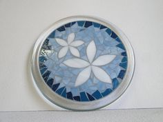 """Large Stained Glass Mosaic Trivet or Candle Plate with a Vacation Style in blue and white """" Aloha II"""". $83.00, via Etsy."""