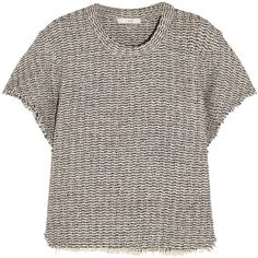 IRO Devan frayed tweed top (£86) ❤ liked on Polyvore featuring tops, grey, loose fit tops, colorful tops, boxy top, loose tops and petite tops