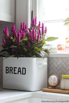 Bread box planter - love those purple flowers and the little wood cutting board that holds kitchen essentials eclecticallyvintage.com