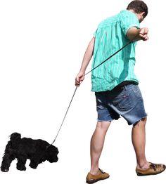 homem passando com o cachorro