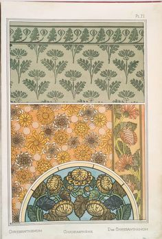 Eugène Grasset (Swiss, 1841-1917). La plante et ses applications ornementales. Chrysanthemum. Pl. 71. 1896.