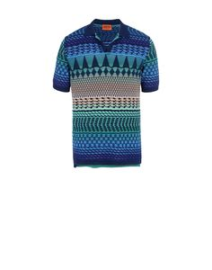 Short-sleeved polo shirt in jacquard cotton with small side vents, multi-coloured ethnic design and solid colour contrasting collar. Regular fit