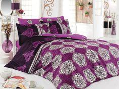 Dose Of Modern Alonzo Ranforce Double Quilt Cover Set (ES) - Purple White Black Cotton Bedding, Linen Bedding, Bed Linen, Double Quilt, French Bed, Quilt Cover Sets, Luxury Bedding, Comforters, Duvet Covers