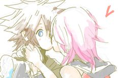 Sora and Kairi Sora And Kairi, Video Game Art, Video Games, Sora Kingdom Hearts, The Time Machine, Anime Sketch, Final Fantasy, True Love, Sketches
