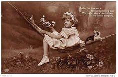 Under The Tree On Bright Summer Day, Hammock, Girl, Kitten, Cat, Flowers 1910