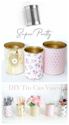 These DIY Decorative Tin Can Vases not only make pretty decor, they're also incredibly practical, easy to make and budget-friendly! Use these vases as a candle holder, flower vase, or container for st Tin Can Crafts, Diy Home Crafts, Jar Crafts, Tin Can Diy Projects, Crafts With Tin Cans, Decor Crafts, Coffee Can Crafts, Diy Home Decor Easy, Diy Simple