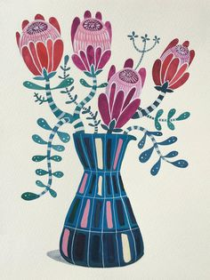 and Red Proteas in Retro Vase Magenta and Red Proteas in Retro Vase by Sally Browne. Paintings for Sale. Bluethumb - Online Art GalleryMagenta and Red Proteas in Retro Vase by Sally Browne. Paintings for Sale. Australian Wildflowers, Watercolor Illustration, Watercolour, Naive Art, Art For Art Sake, Mural Art, Botanical Art, Fabric Painting, Beautiful Artwork