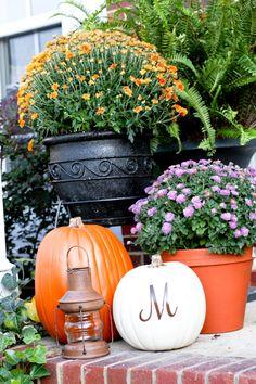 Herbst Dekoration-für den Außenbereich-Kürbisse schnitzen Blumentöpfe