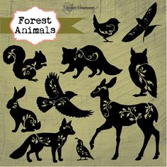 Instant Download  Forest Animals Digital by TanglesTreasures, $4.50