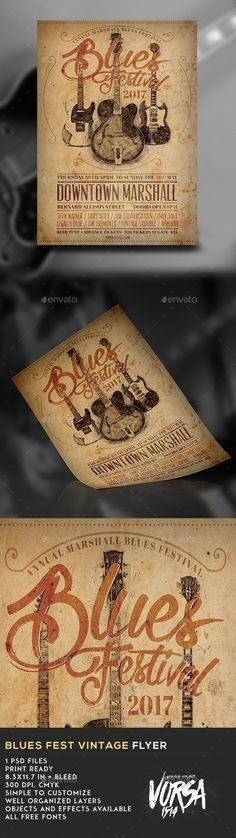 Blues Fest Vintage Flyer  — PSD Template #retro #jazz • Download ➝ https://graphicriver.net/item/blues-fest-vintage-flyer/18079776?ref=pxcr