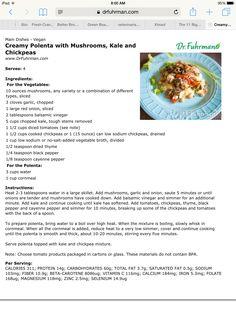 Creamy polenta with mushrooms, kale and chick peas