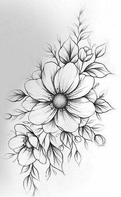 blackworktattoobear-blackworktattooflashsheet-blackworktattoogirl-blackwo-tattoo-blumen-flower-flowertattoos-blumen-tattoos-designs/ - The world's most private search engine Beautiful Flower Drawings, Pencil Drawings Of Flowers, Flower Art Drawing, Flower Sketches, Pencil Art Drawings, Drawing Ideas, Floral Tattoo Design, Flower Tattoo Designs, Flower Tattoos