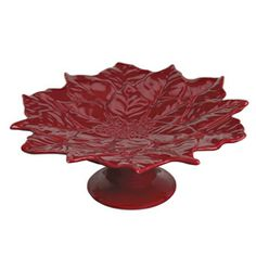 Andrea by Sadek Poinsettia. Cake Stand Decor, Cake Pop Stands, Cake Tins, Cake Plates, Dessert Plates, Christmas Party Themes, Christmas Crafts, Red Dinner Plates, Cake Carrier