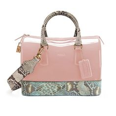 "The ""Candy Bag"" by: FURLA. An enticing ""sweet as candy"" fashion accessory! Prada Handbags, Purses And Handbags, Luxury Handbags, Designer Handbags Outlet, Designer Purses, Jelly Bag, Satchel, Crossbody Bag, Candy Bags"