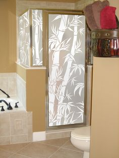 Big Bamboo privacy film, shown on a shower enclosure.