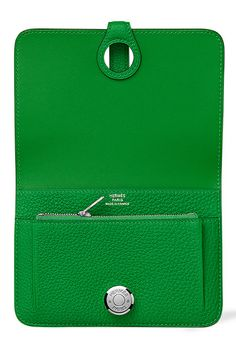 Hermes - Dogon Wallet/Purse in Bamboo Green leather. Open inside view.