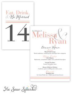 Printable Menu Card  Better Together Collection by HeSawSparks, $20.00