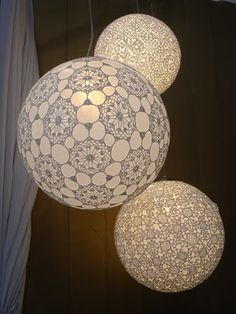 Crocheted lampshades over globes. Pretty sure I'd have to quit my job to have time to do all these neat projects. But then. . .how would I buy all my supplies?