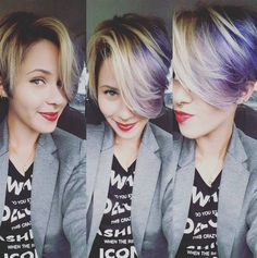 Long Pixie Haircut with Bangs - Ombre, Balayage Hairstyle for Short Hair