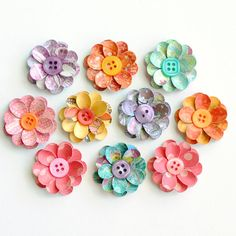 HANDMADE Layered FLOWERS with BUTTON Centers by photomamaregina